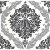 Luxusní vliesové tapety na zeď CARAT ornamentální vzor černo stříbrný s třpytkami - POSLEDNÍ KUS