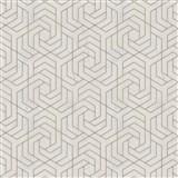 Vliesové tapety IMPOL City Glam geometrický vzor béžový se zlatými metalickými odlesky