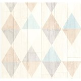 Vliesové tapety na zeď Collage retro dřevěná prkna světle tyrkysovo-hnědé