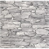 Vliesové tapety na zeď Collage kámenná zeď šedá
