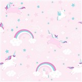 Papírové tapety na zeď Unicorn - jednorožec růžový