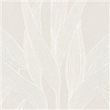 Vliesové tapety na zeď Hygge bambusové listy hnědé se stříbrnými konturami