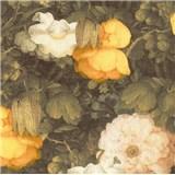 Vliesové tapety na zeď Metropolitan Stories florální vzor žluto-černý