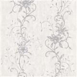 Vliesové tapety na zeď květinový vzor šedý se stříbrnými stonky