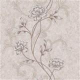 Vliesové tapety na zeď IMPOL květy na hnědém strukturovaném podkladu