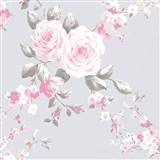 Papírové tapety na zeď Catherine Lansfield růže na fialovém podkladě