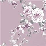 Papírové tapety na zeď Catherine Lansfield růže na tmavě fialovém podkladě