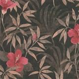 Vliesové tapety na zeď IMPOL CUBA květy s listy růžové na tmavě hnědém podkladu