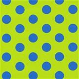 Tapety na zeď Die Maus puntíky modré na zeleném podkladu