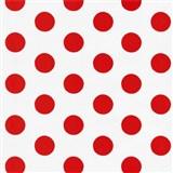 Tapety na zeď Die Maus puntíky červené na bílém podkladu