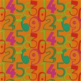 Tapety na zeď Die Maus barevné číslice na oranžovém podkladu