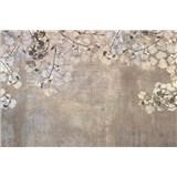 Vliesové fototapety betonová zeď s listy rozměr 375 cm x 250 cm