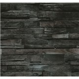 Vliesové tapety na zeď Einfach Schoner dřevo hnědo-černé