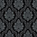 Vliesové tapety na zeď IMPOL zámecký vzor stříbrno-šedý na leskle černém podkladu