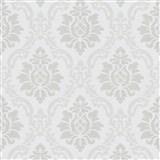 Vliesové tapety na zeď IMPOL zámecký vzor stříbrno-šedý na leskle bílém podkladu