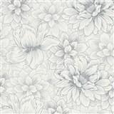 Vliesové tapety na zeď Natural Living bílé květy se stříbrnými detaily