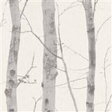 Vliesové tapety na zeď Natural Living kmeny stromů šedé s třpytkami