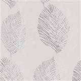 Vliesové tapety na zeď Scandinja listy šedé na světle šedém podkladu