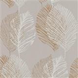 Vliesové tapety na zeď Scandinja listy zlaté na hnědém podkladu