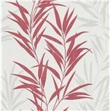 Vliesové tapety na zeď Mix Up bambusové listy červené a bílé