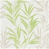 Vliesové tapety na zeď Mix Up bambusové listy zelené a bílé