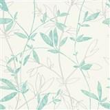 Vliesové tapety na zeď Natural Living popínavé větvičky s lístky aqua