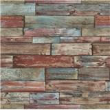 Papírové tapety na zeď Imitations dřevěný obklad červeno-modrý