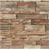 Papírové tapety na zeď Imitations dřevěný obklad červeno-hnědý