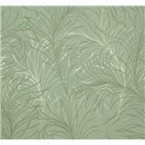 Vliesové tapety na zeď Estelle listy zeleno-stříbrné na zeleném podkladu