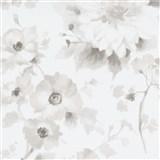 Vliesové tapety na zeď G.M.K. Fashion for walls květy světle hnědé na bílém podkladu
