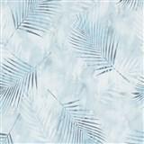 Vliesové tapety na zeď G.M.K. Fashion for walls palmové listy modro-bílé na modrém podkladu