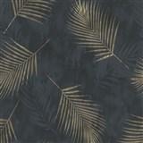 Vliesové tapety na zeď G.M.K. Fashion for walls palmové listy zlaté na černém podkladu
