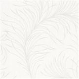 Vliesové tapety na zeď Felicita jemné listy krémové na světle šedém podkladu