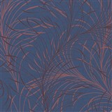 Vliesové tapety na zeď Felicita jemné listy červené na modrém podkladu
