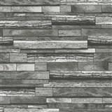 Vliesové tapety na zeď Felicita dřevěný obklad s 3D efektem šedo-černé