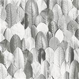 Vliesové tapety na zeď Felicita lístky šedé