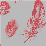 Vliesové tapety na zeď Felicita peří červené na šedém podkladu