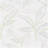 Vliesové tapety na zeď IMPOL Finesse abstraktní listy šedo-zelené