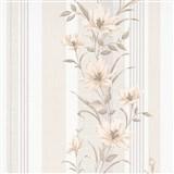 Vliesové tapety na zeď IMPOL Finesse květy hnědé s béžovými pruhy