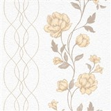 Vliesové tapety na zeď IMPOL Finesse květy béžové na bílém podkladu