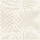 Luxusní vliesové tapety na zeď NATURAL FOREST listy kapradí krémové s třpytkami