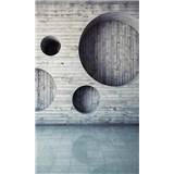 Vliesové fototapety dřevěná stěna s kruhy rozměr 150 cm x 250 cm