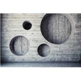Vliesové fototapety dřevěná stěna s kruhy rozměr 375 cm x 250 cm