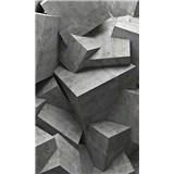 Vliesové fototapety 3D betonové kostky rozměr 150 cm x 250 cm