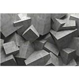 Vliesové fototapety 3D betonové kostky rozměr 375 cm x 250 cm
