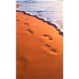 Vliesové fototapety stopy na pobřeží rozměr 150 cm x 250 cm