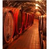 Vliesové fototapety sudy s vínem rozměr 225 cm x 250 cm