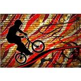 Vliesové fototapety bicycle red rozměr 375 cm x 250 cm