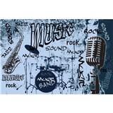 Vliesové fototapety music blue rozměr 375 cm x 250 cm
