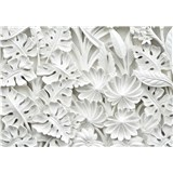 Vliesové fototapety 3D květy bílé rozměr 254 cm x 184 cm